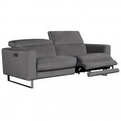 Canapé 2,5 places relax électrique avec têtières amovibles - 2 coloris - CATHY