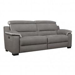 Canapé 2.5 places relax électrique avec têtières amovible gris - LUCIE