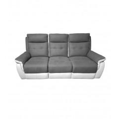 Canapé 3 places tissu gris et blanc 2 places relax électrique - LOGAN