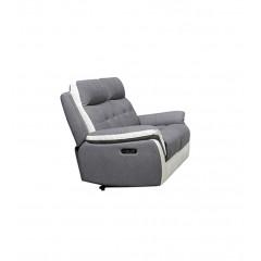 Canapé 2 places relax électrique tissu gris et blanc - LOGAN