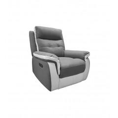 Fauteuil relax électrique en tissu gris et blanc - LOGAN