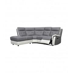Canapé angle droit en tissu gris & blanc relax électrique - LOGAN