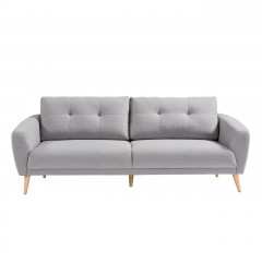 Canapé droit 3 places en tissu gris avec coussins capitonnés et pieds bois évasés - SIENNA