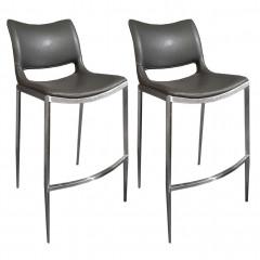 Lot de 2 chaises de bar avec piètement en inox brossé gris - IGLOO