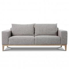 Canapé 3 places en tissu gris avec piétement en bois massif - vue de face - GALA