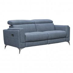 Canapé 2.5 places relax électrique bleu avec piètements métal avec têtières amovibles - vue de face - ELISE