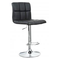 Joane - Tabouret chaise de bar matelassé réglable Noir