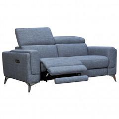 Canapé 2 places relax électrique bleu avec piètements métal avec têtières amovibles - vue en angle - ELISE