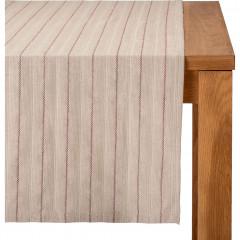 Chemin de table en lin et coton à rayures 50x150cm - rouge - NAIS