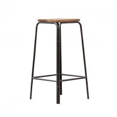 Tabouret de bar en bois et métal style industriel - vue en angle - ATELIER