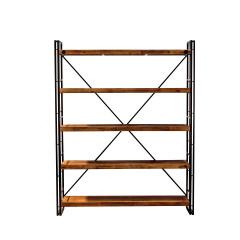 Bibliothèque en bois et métal 5 étagères H.190cm - vue de face - ATELIER