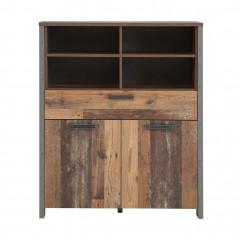 Armoire haute en bois avec 3 portes H128cm effet bois vieilli - vue de face - FRED