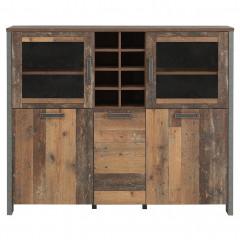 Buffet en bois avec 2 portes vitrées H151cm effet bois vieilli - vue de face - FRED
