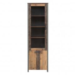 Vitrine en bois avec porte vitrée réversible droite/gauche H205cm effet bois vieilli  - vue de face - FRED