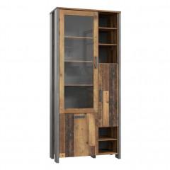 Vitrine en bois avec porte vitrée H205cm effet bois vieilli - vue en angle - FRED