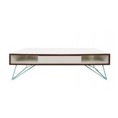 Table basse 2 tiroir 120x60cm - vue de face - COPENHAGUE