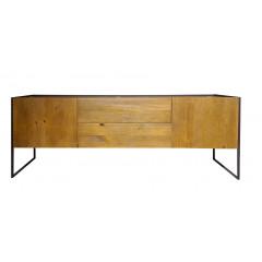 Bahut 2 portes 2 tiroirs bois massif métal - vue de face - NORDIK