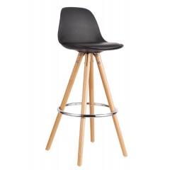 First - Tabouret chaise de bar  Noir et piètement en bois