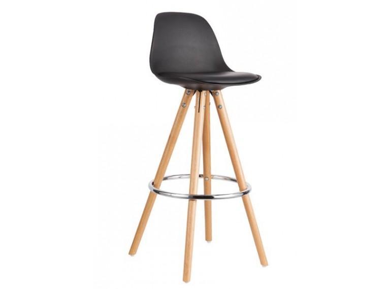 first tabouret de bar noir et pi tement en bois. Black Bedroom Furniture Sets. Home Design Ideas