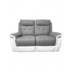 Canapé 2 places relax électrique tissu gris et blanc - vue de face - LOGAN