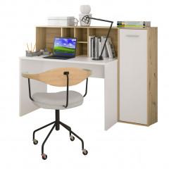 Bureau en bois avec rangement intégré 6 niches et 1 placard - mise en scène - ERIC