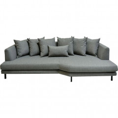 Canapé 5 places fixe droit en tissu gris - TESSOUN