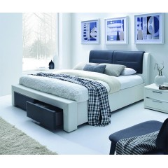 Chello - Lit 2 places 140x190 cm noir et blanc