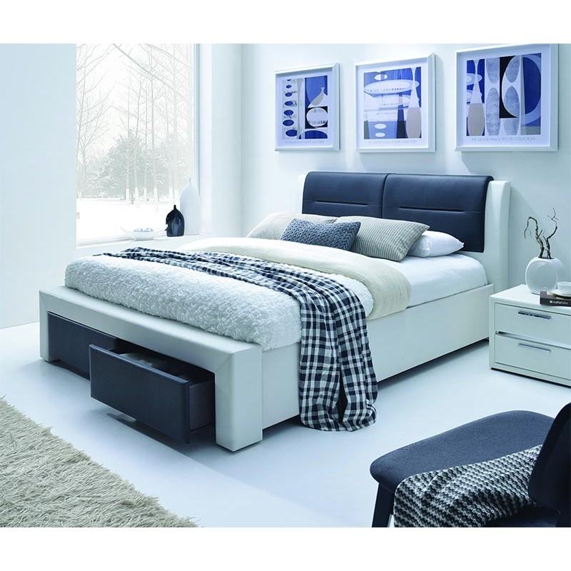 chello lit 2 places 160x200 cm noir et blanc. Black Bedroom Furniture Sets. Home Design Ideas