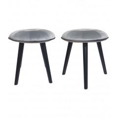Lot de 2 tabourets ronds en velours gris et bois noir - AUGUSTIN 646