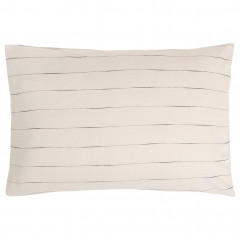 Lot 2 taies d'oreiller à rayure en coton beige 50 x 70 cm - vue de face - FINE 342