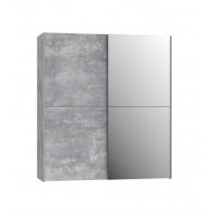 Armoire 2 portes coulissantes 5 tablettes miroir - vue de face - THAIS