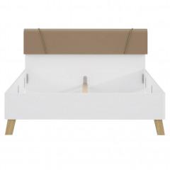 Lit double queen size 160 x 200 en bois finition blanc laqué - vue de face - LIZA