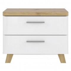 Table de chevet en bois finition blanc brillant - vue de face - LIZA