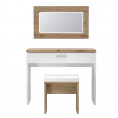 Coiffeuse en bois finition blanc laqué et bois clair - vue de face - LIZA