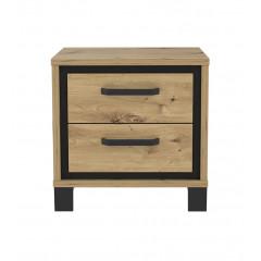 Table de chevet 2 tiroirs en bois chêne et métal noir - vue de face - IBIZA