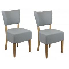 Lot de 2 chaises shetland en tissu avec piètement bois - PRAGUE