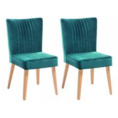 Lot de 2 chaises scandinave en velours - JAN