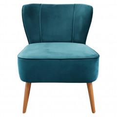 Fauteuil crapaud en velours bleu et piètement en bois - 2 coloris - LILLY