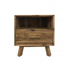 Table de chevet en bois de pin avec rangements - vue de face - ORIGIN