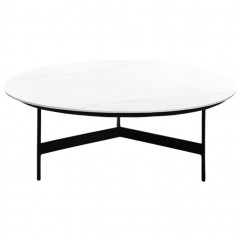 Table basse ronde avec plateau en céramique blanc et piètement en métal noir - ASHE