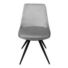Chaise en velours avec piètement croix en métal noir - vue de face - COCO