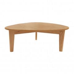 Table basse en bois de chêne massif H27cm avec piètement compas - vue de face - PAMPA 058