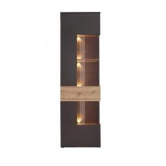 Colonne vitrée 1 porte grise & chêne naturel - vue de face avec éclairage LED - TONY