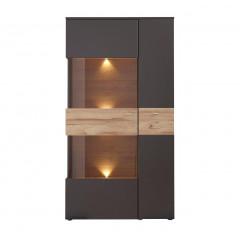 Vitrine 2 portes gris & chêne naturel - vitrine éclairée à LED coloris gris & bois - TONY