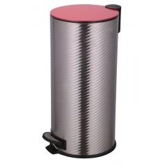 Poubelle de cuisine à pédale 30L imitation tôle ondulée couvercle rouge