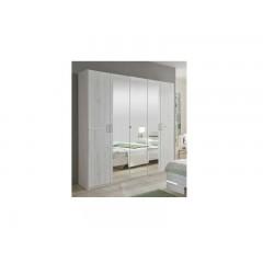 Anna - Armoire 4 portes - 2 miroirs chêne blanc/chrome