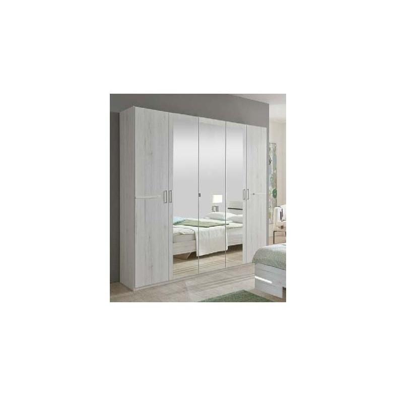 Armoire 4 portes - 2 miroirs chêne blanc/chrome - ANNA - BELHOME