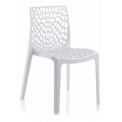 Chaise empilable ajourée blanc - GRUYER