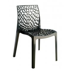 Chaise empilable ajourée noir - GRUYER