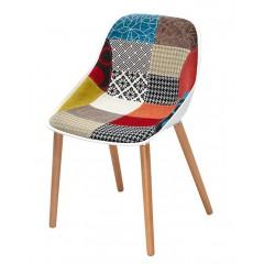Chaise scandinave bois et tissu patchwork coque blanc hetre - BARBARA